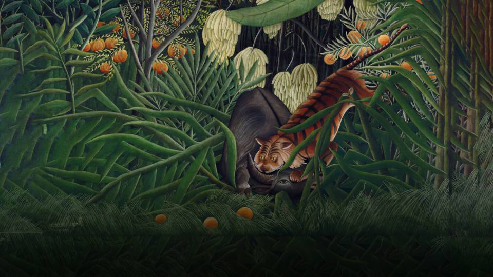 A tiger, buffalo, banana tree, peach tree, and ferns appear in a Henri Rousseau painting