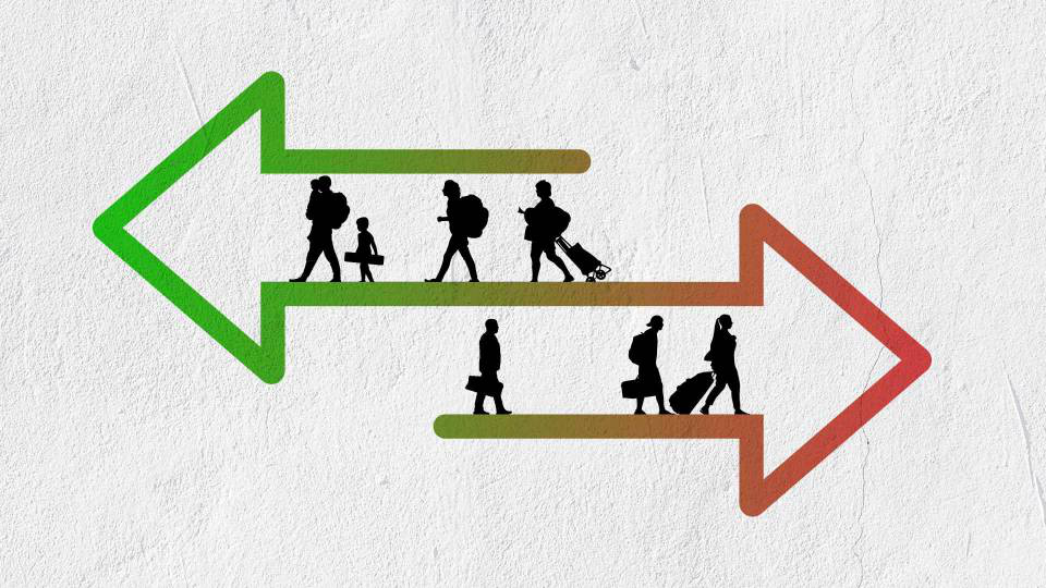 Illustration of 2 arrows going in different directions with silhouttes of people in them